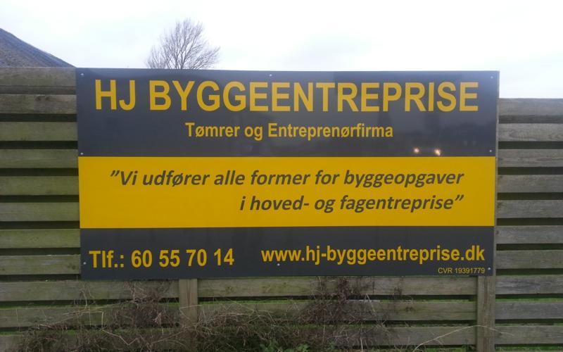Byggepladsskilt HJ Byggeentreprise 3mm aluplade