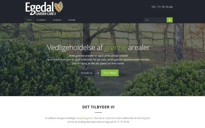 Egedal Gardencare webside udvikling