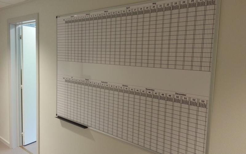 whiteboardtavle - feriekalender - oversigt over ferieåret